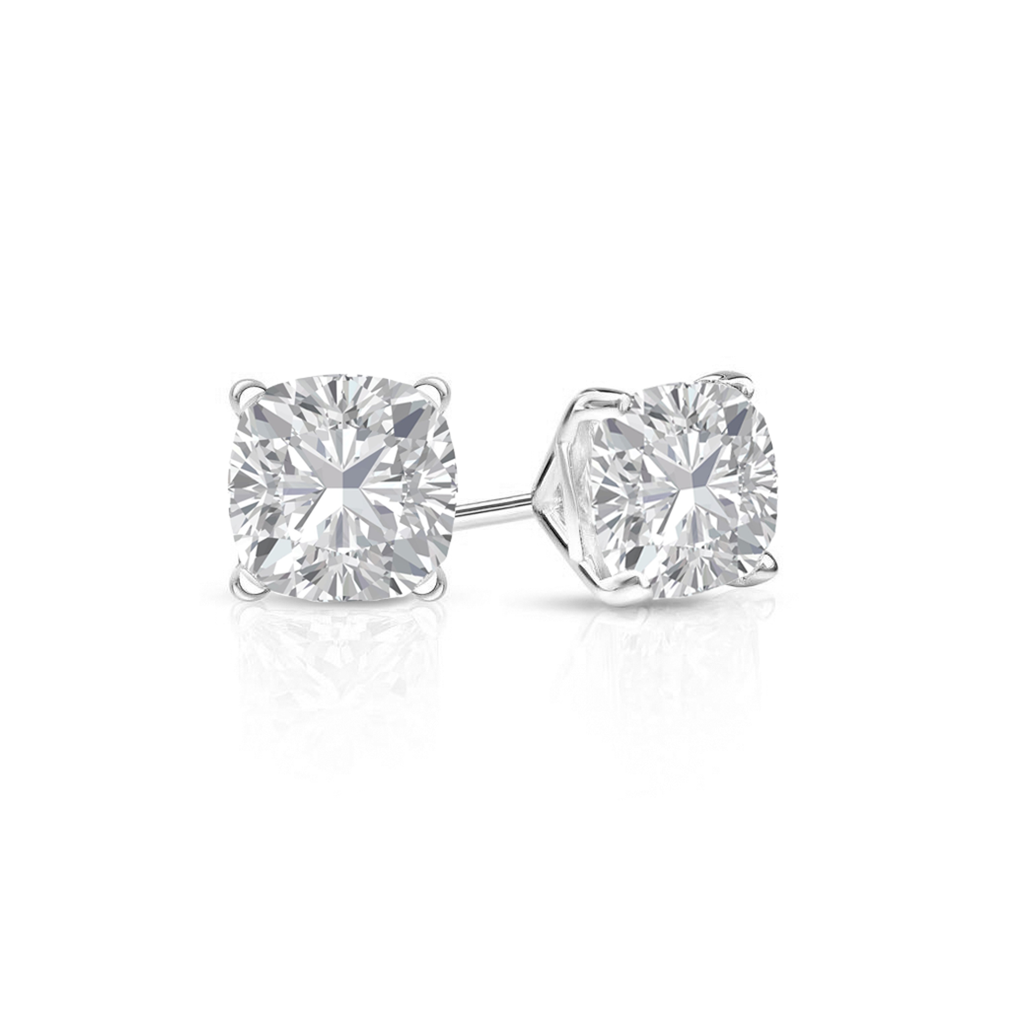 plated rhodium round set zirconia cubic sterling ear earrings halo moissanite default small silver