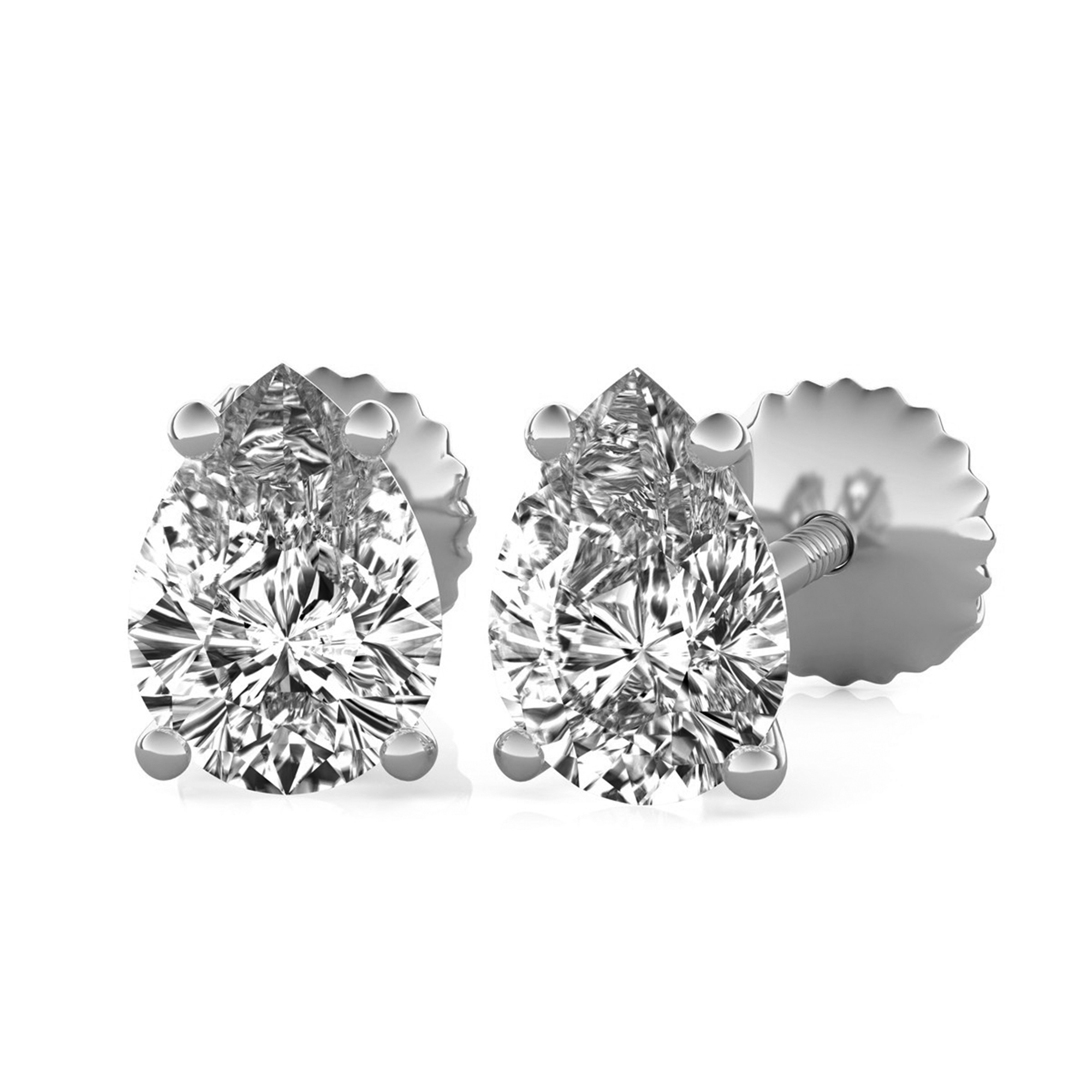 prong earrings round p moissanite